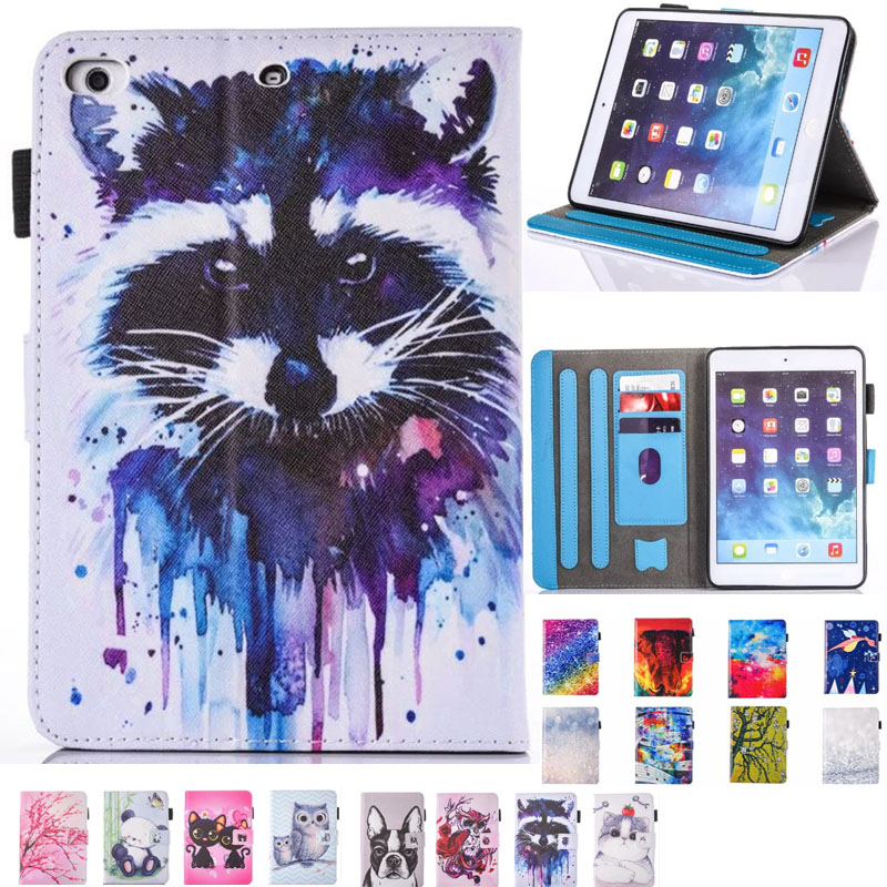 Cartoon Cat wolf Beach Book Wallet PU Leather Stand Case smart Cover For New Ipad 9.7 2017 2018 ipad Air 2 / Air ipad5/6 case