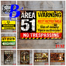 Metal Wall Art Warning No Trespassing Plate Vintage Pub Signs Size:20*30CM