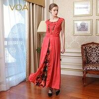 VOA Silk Women Vintage Dresses Elegant Red Short Sleeves O Neck Draped Pleated 2017 New Fashion Maxi Vestidos Female A7763