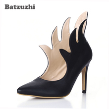 Batzuzhi-Personality Super Star Style Women Short Boots Pointed Toe Black Leather Ankle Boots Women 9.8cm Heels for Party luchfive individual front zipper ankle boots for women pointed toe clear acrylic wedge heels transparent women short boots