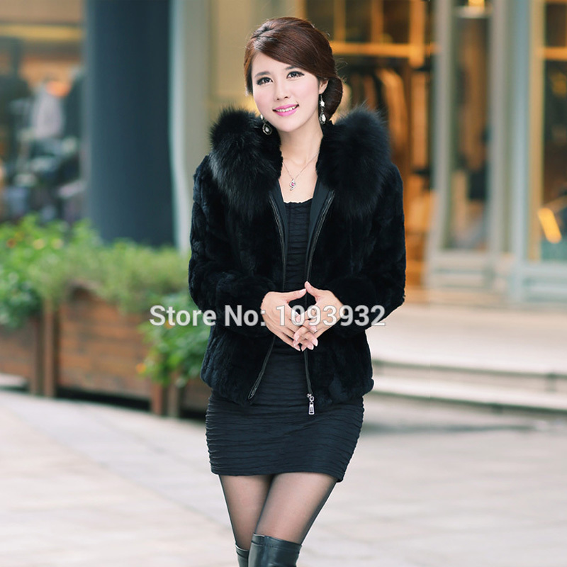 Aliexpress.com : Buy Fashion Ladies Fox Fur Collar Rabbit Fur Coat