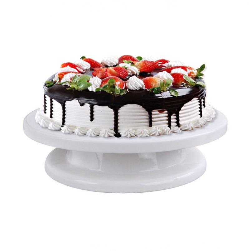 27cm Plastic Cake Turntable Rotating Cake Stand Round DIY Pedestal Swivel Cake Decorating Turntable Useful Baking&Pastry Tools