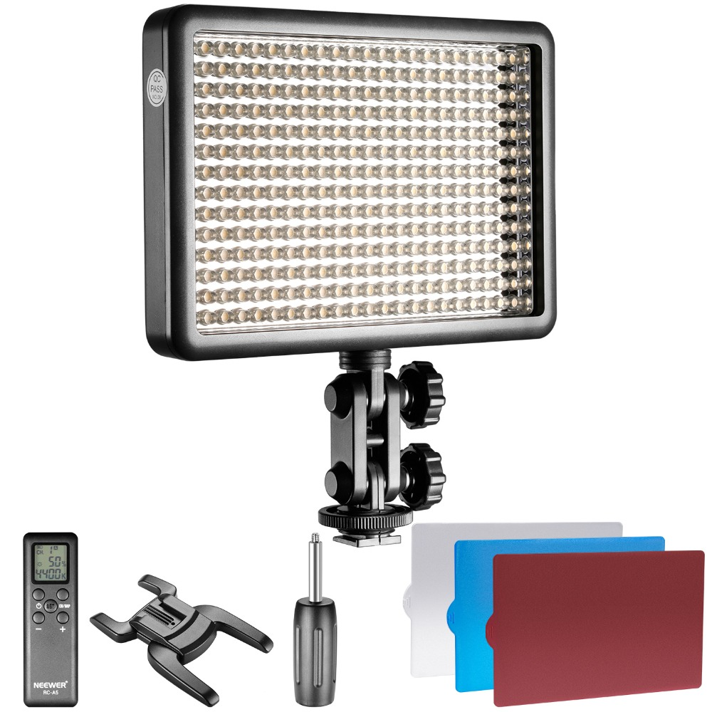 Neewer Photo Studio LED 308C with 308 Pieces LED High Power Dimmable 3300K- 5600K Video Light Remote Control for Canon Nikon new godox 308c bi color dimmable 5500k 3300k led video led video studio light lamp professional video light with remote control