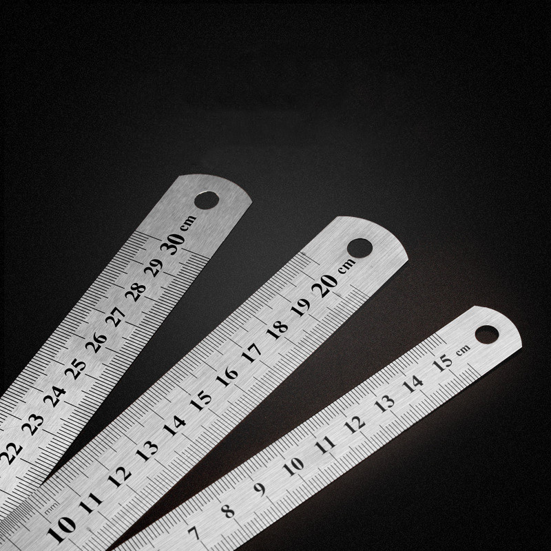 1 Pc 15cm/20cm/30cm Metal Straight Ruler Double Sided Learning Office Stationery Drafting Supplies