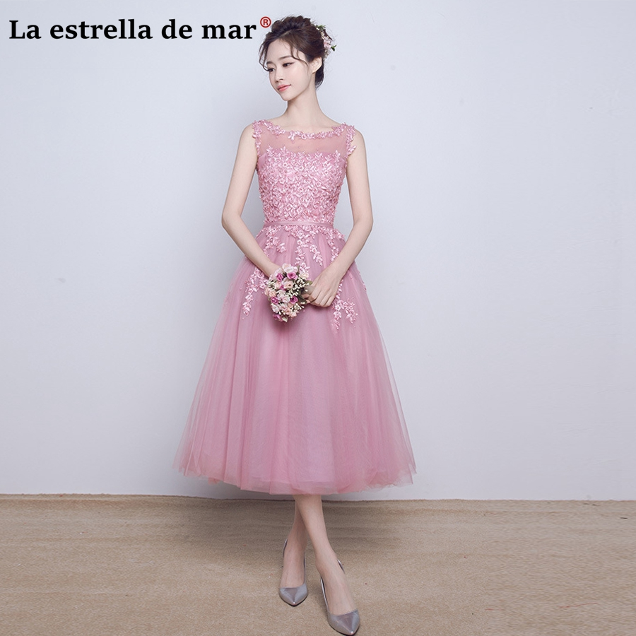 Vestido Madrinha2018 New Lace Pearl A Line Blush Pink Bridesmaid