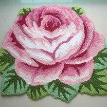 Envío de la buena calidad hecha a mano de rose art carpet arte alfombra/alfombra del piso para el dormitorio/sala de estar romántica rosa 80*60 cm