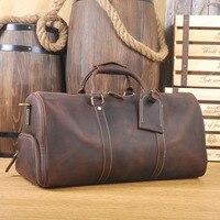 DWOY большой винтажный Ретро вид из натуральной кожи вещевой мешок выходные сумки мужские сумки из натуральной воловьей кожи дорожные сумки