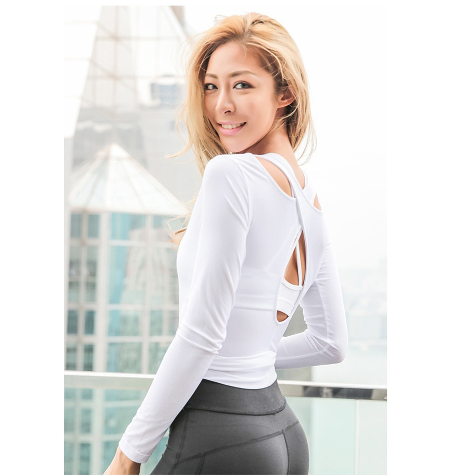 6d84093a6b Women Cross Back Yoga Top Shirts White Backless Workout Tops for Women Long  Sleeve Sports Crop Top Gym Workout Activewear 2018-in Yoga Shirts from  Sports ...