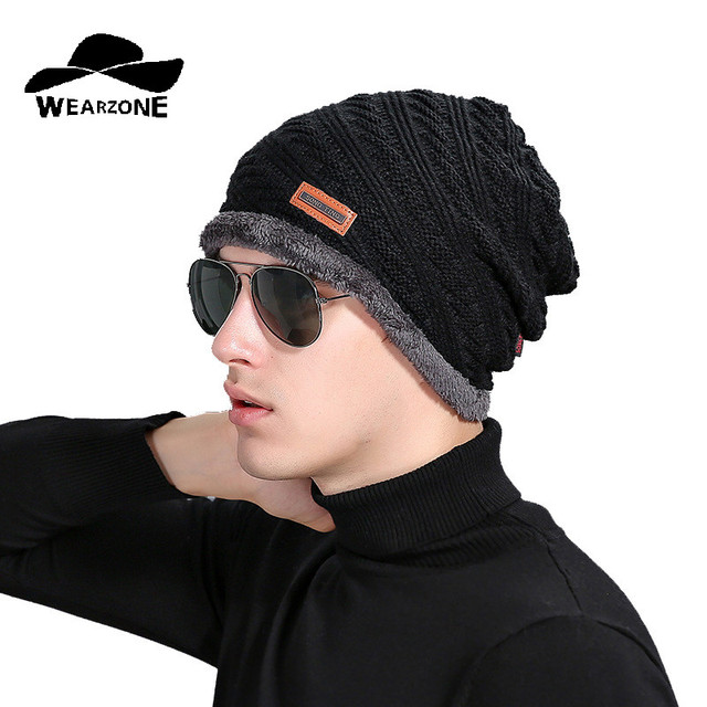 cdcc1563f2f 2016 Brand Beanies Knit Men s Winter Hat Caps Skullies Bonnet Winter Hats  For Men Beanie Fur Warm Baggy Thickening Knitted Hat