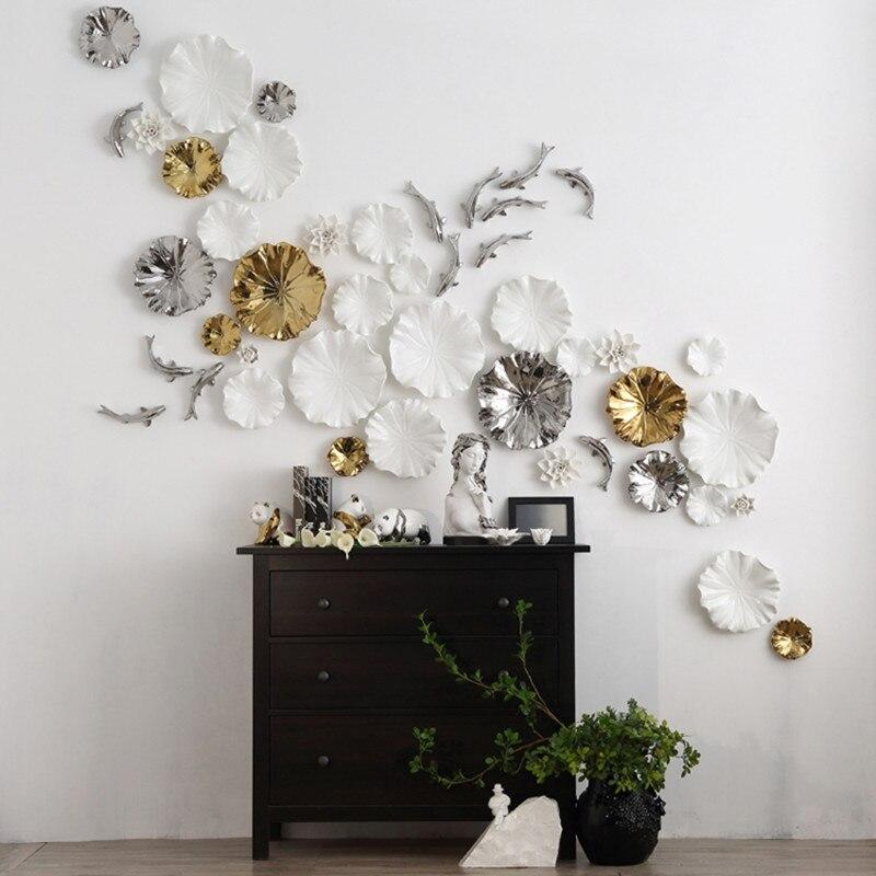 Di Parete creativo Foglia di Loto Decorazione di Ceramica Artigianato Appeso A Parete Murale Casa Soggiorno Sfondo Ornamento R1221Di Parete creativo Foglia di Loto Decorazione di Ceramica Artigianato Appeso A Parete Murale Casa Soggiorno Sfondo Ornamento R1221