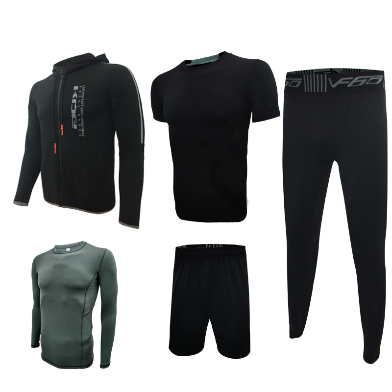 5pcs=1Set Sports Running Set Fitness Jacket men's long sleeved running tight training clothes fastdry Breathable gym suit autumn