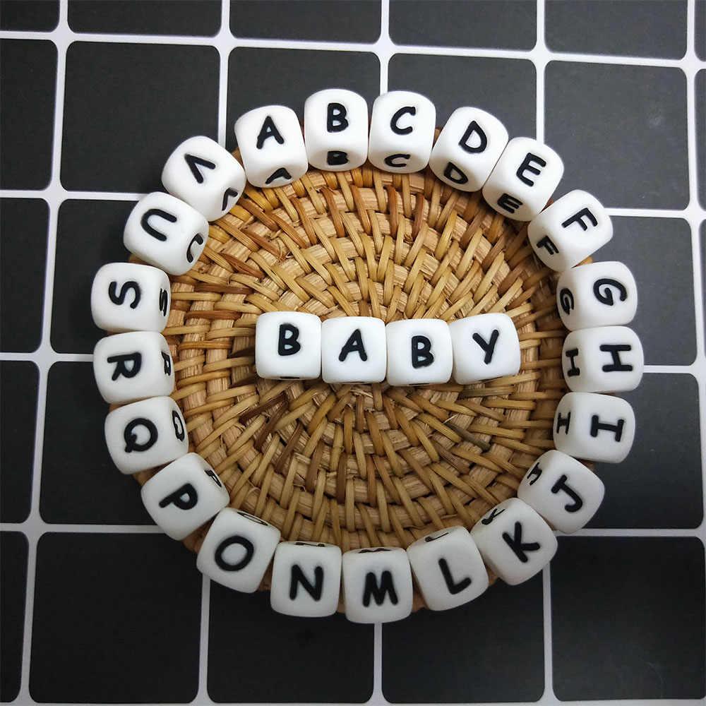 5 piezas de cuentas de silicona del alfabeto inglés de grado alimenticio bebé mordedor letra silicona roedor bebé dentición collar DIY chupete cadena herramienta