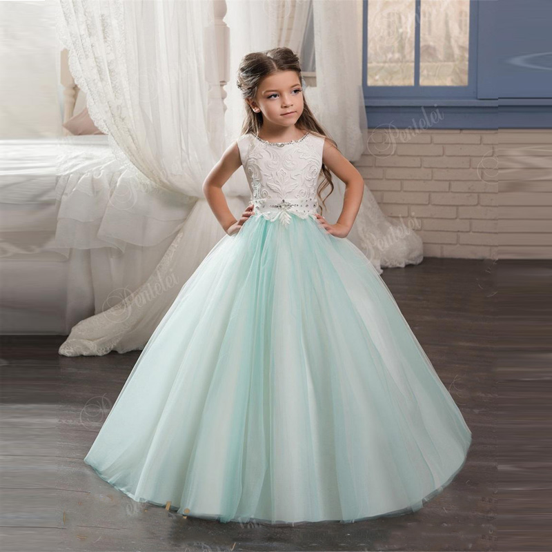 Blue Kids Evening Gowns with Scoop Neck and Lace up Back Beaded Crystals Mint Flower Girl Gowns Custom Made New Fashion Hot Sale sheer neck lace beaded new flower girl