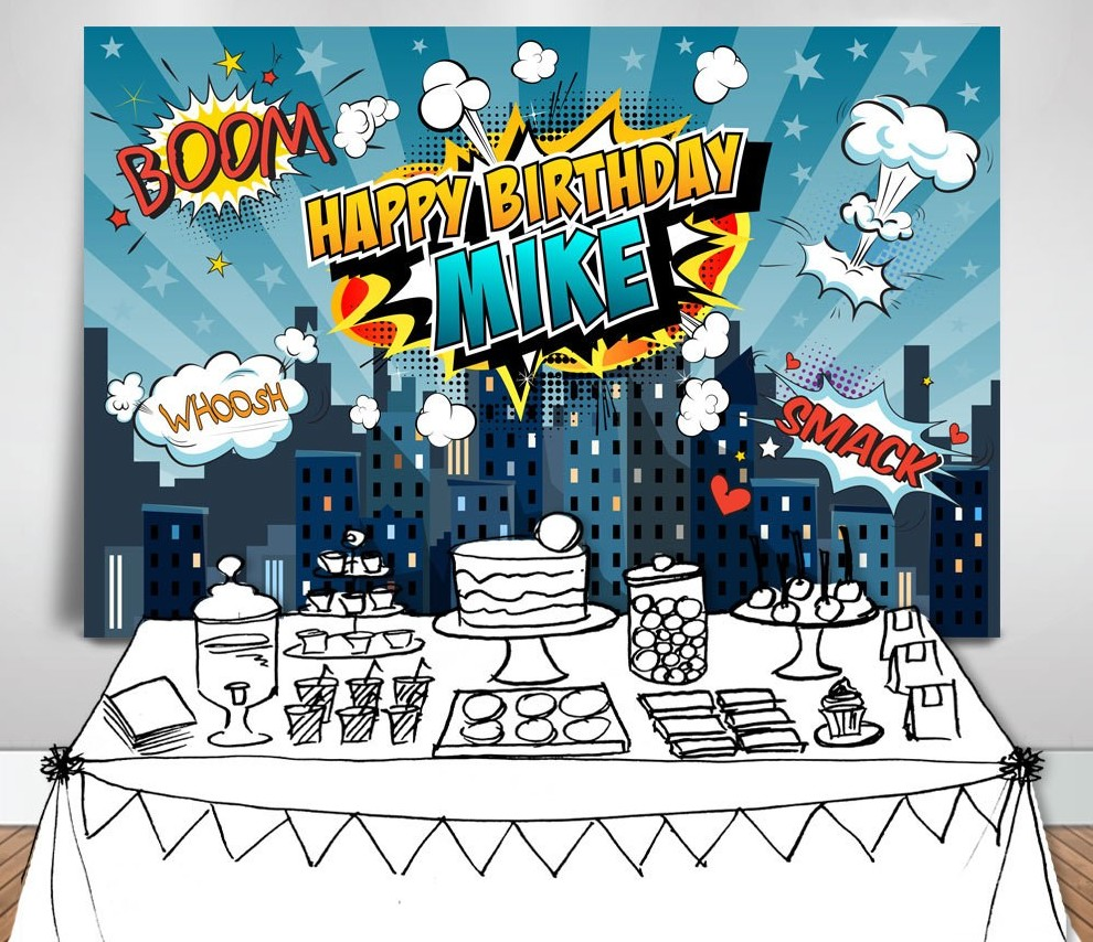super hero boys super city skyline Cartoon photography backgrounds Vinyl cloth High quality Computer print party backdrops