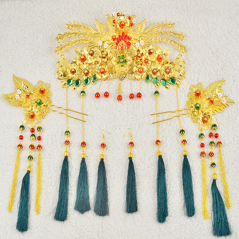 Chinese Traditional Bridal Headdress Long Red/GreenTassels Beads Flowers Hair Jewelry 4