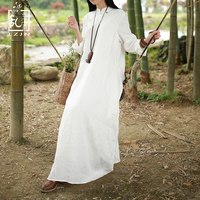LZJN Long Sleeve White Dress 2018 Spring Fall Women Maxi Dresses Vintage Chinese Cheongsam Linen Qipao Robe Femme Vestido 77026