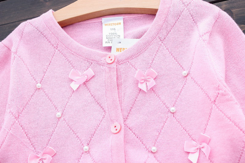 Lolita Girls Sweaters Solid Long Sleeve Clothes Pearl Children Sweaters Coats O Neck Sweater Cardigan Kids Clothes With Bows (6)
