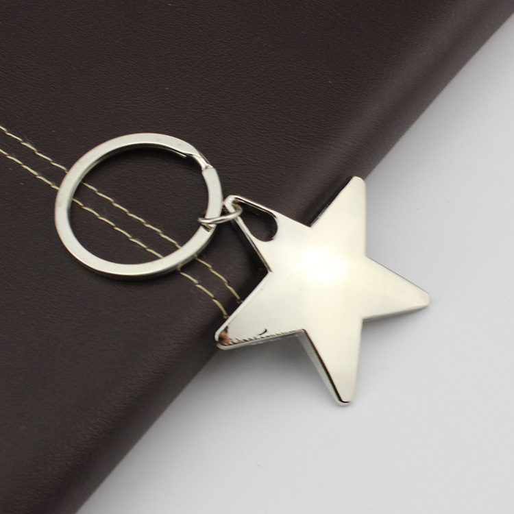 FREE SHIPPING BY DHL 100pcs lot Zinc Alloy Metal Star Shaped Keychains Five Pointed Star Keyrings