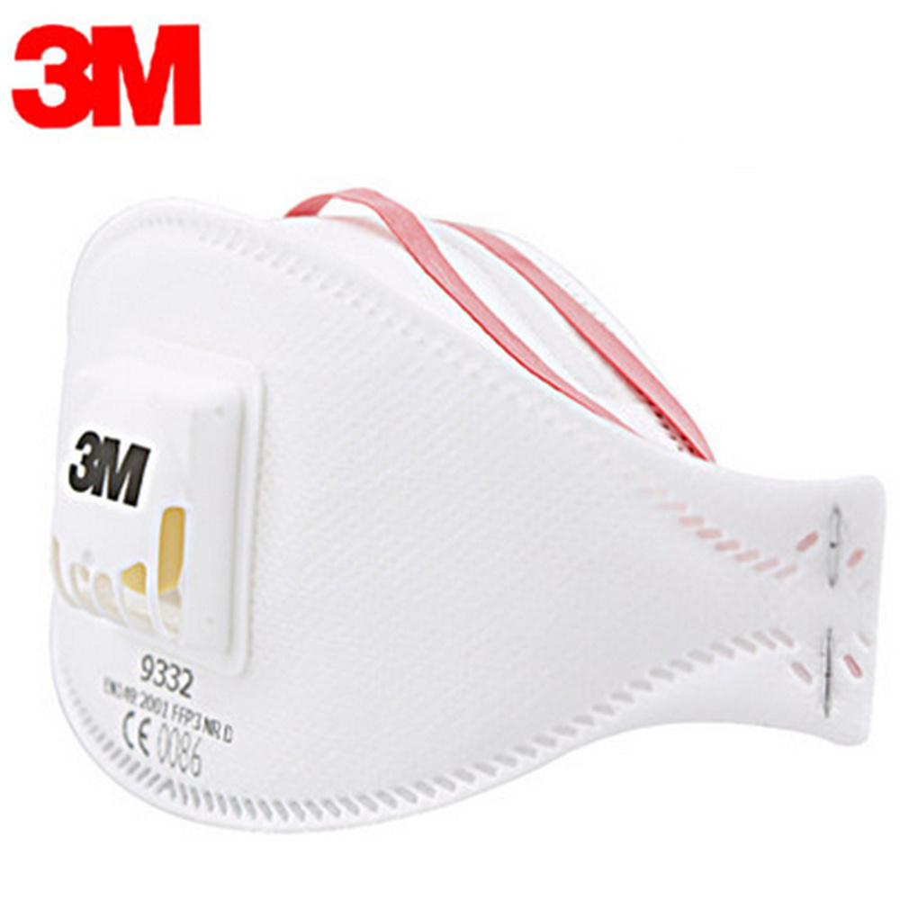 Genuine 3M 9332 Anti-dust Protective Mask Anti-fog Haze Dust-proof FFP3 Level Anti-PM2.5 Headband Formula Exhalation Valve Mask