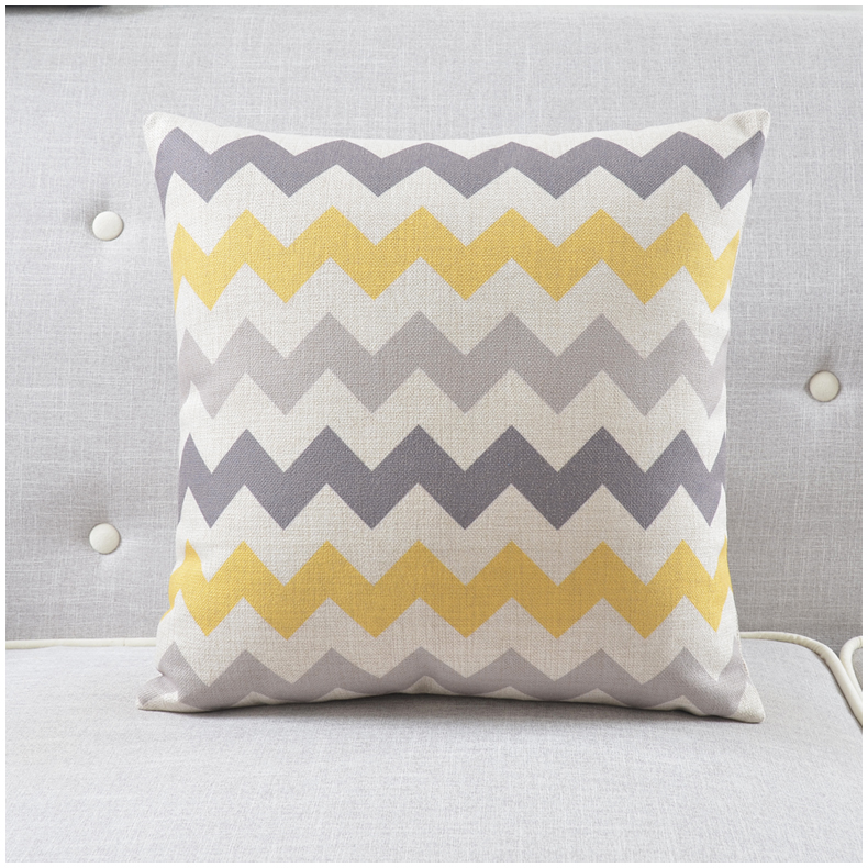 Decorative Linen Cotton Pillow Cushion Cover Modern Yellow Grey Geometric Striped Chevron Plaid Print Cushions Pillows Case In From Home Garden On