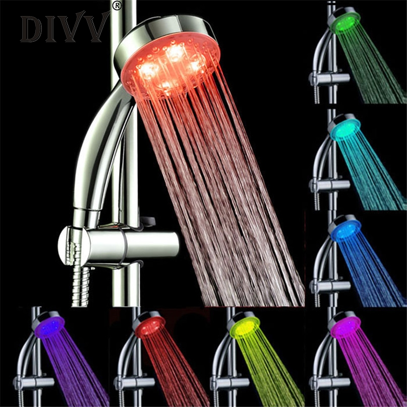 Home Wider Hot Selling Handheld 7Color LED Romantic Light Water Bath Home Bathroom Shower Head Glow