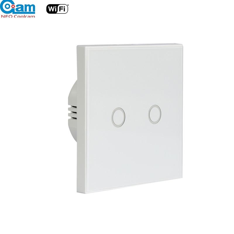 NEO Coolcam Wifi 2Gang Wall Wifi Luz de vidrio de interruptor Panel táctil LED luces interruptor para Control de interruptor remoto inalámbrico de casa inteligente NEO COOLCAM Z-wave Plus a casa una clave SOS y de Control remoto inteligente Sensor de automatización de Sensor