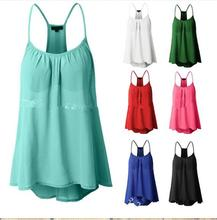 New Women Casual Chiffon Sling Round Neck Sleeveless shirt Vest women blouses summer vetement femme Vicky