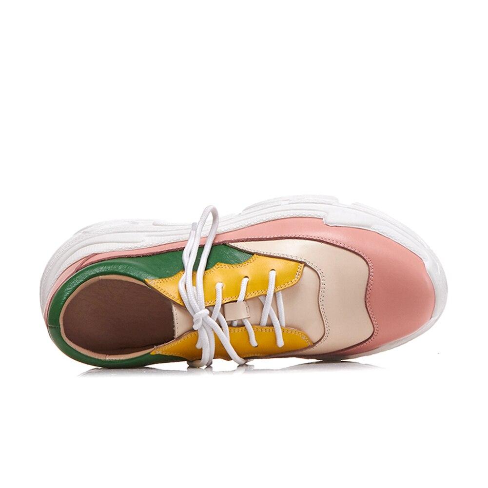 couleur Véritable Rose Cuir Automne Appartements Chaussures Casual Femmes En Papa up Dentelle Doratasia Mode Sneakers 2019 Femme Mixte nz5wIU
