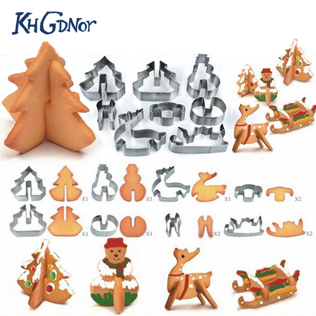 8pcs 3D Stainless Steel Christmas Scenario Cookie Cutters Metal Cookie Mold Fondant Cutter Baking Tool