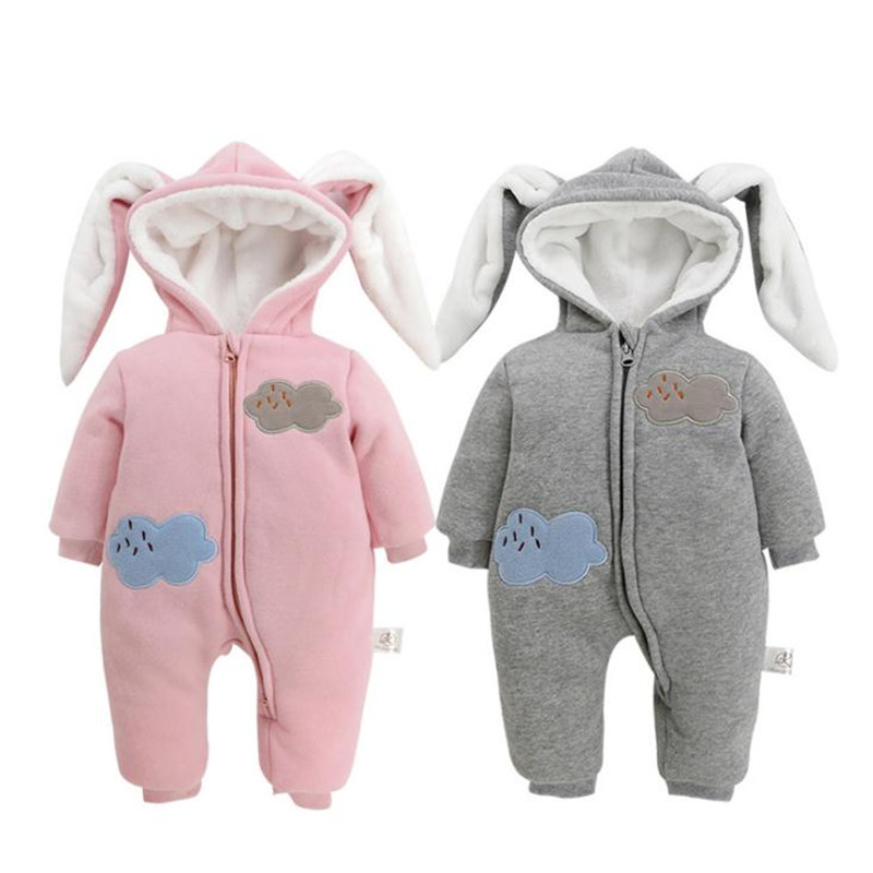 Winter Baby Infantile Romper Full Sleeve Hooded Jumpsuit Tiny Cotton Baby Clothing Boys and Girls