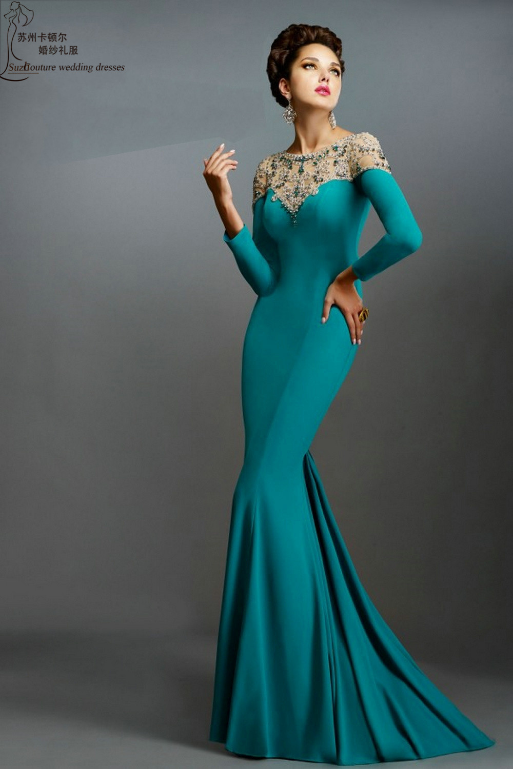 Long sleeve evening dresses 2015 ME1374 elegant mermaid evening dress  custom made emerald green women formal dresses to party-in Evening Dresses  from ... 084ac528c7