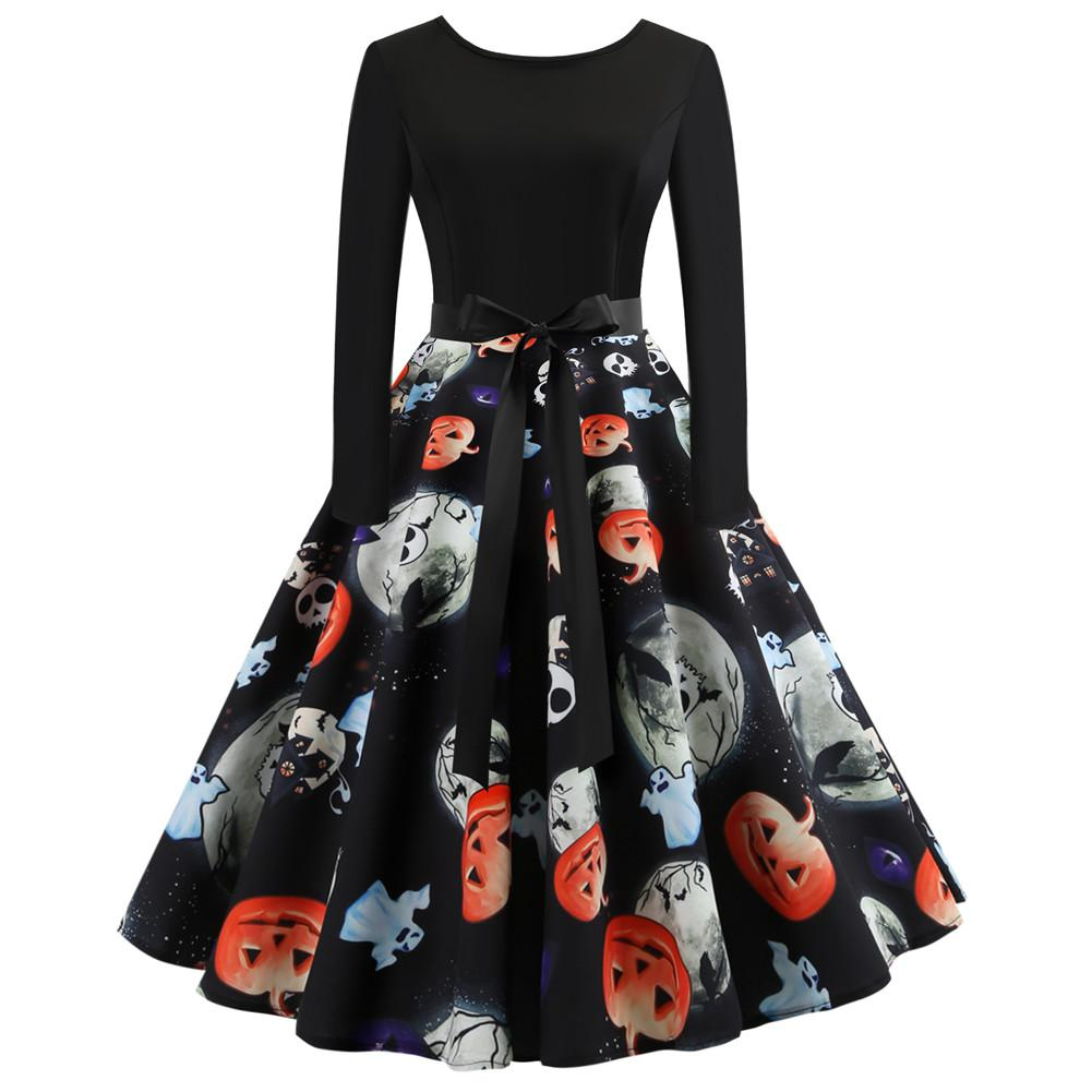 2018 Hot Sale Halloween Pumpkin Head Vintage Printing Long Sleeve Flare Dress