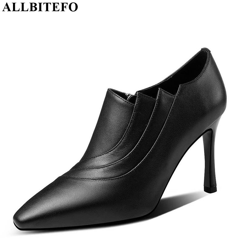 ALLBITEFO Real Genuine Leather Women Heels Pure Color Sexy Ladies Fashion High Heel Shoes Spring Autumn Wedding Shoes Stiletto