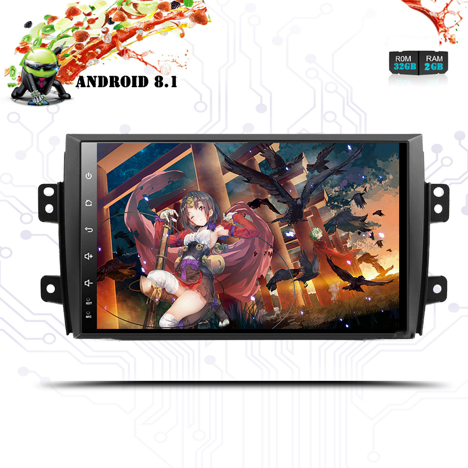 "9"" 2 din 1024*600 Android 8.1 Car Radio dvd for Suzuki SX4 2006-2013 gps navigation video audio Carplay Multimedia player stereo"