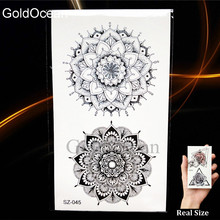 25 Style Black Henna Flora Temporary Tattoo Stickers Women Arm Pendants 3D Waterproof Ear Tatoos Mandala Flower Fake Tattoo Girl