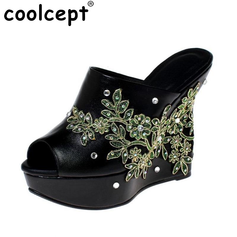 Coolcept Sexy Women Genuine Leather High Wedges Sandals Flower Beading Platform High Wedges Slippers Summer Shoes