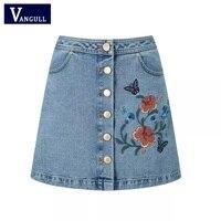Women Embroidery Skirt 2017 Casual A Line Floral High Waist Denim Female Sexy Women Short Ladies