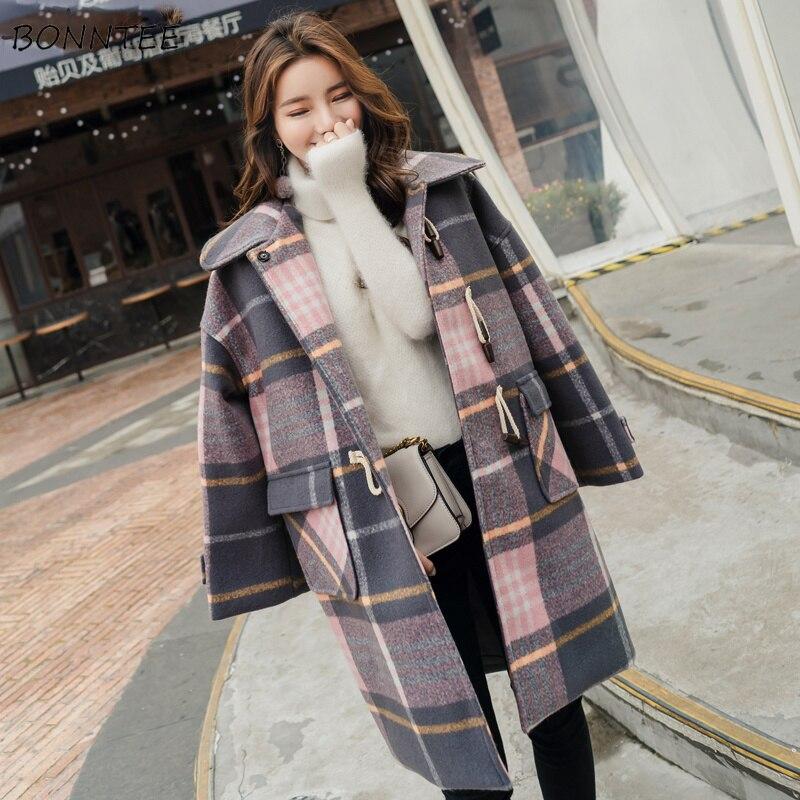 Corne De allumette Multi Britannique Longues Manteaux Hiver Style Imprimé Plaid Manches Femmes Épais À Mélanges Chaud Tout Chic Bouton Loisirs Élégant xzfSaqw7