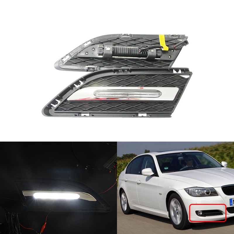 Led DRL Daytime Running Lights Front Bumper For BMW E90 E91 335i 325 LCI 3 Series 2009 2012 Car Styling Driving Daylights