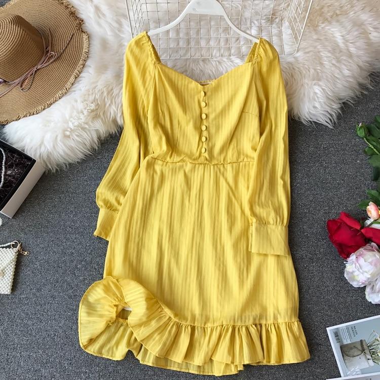 Spring Woman New Skinny A-line Sukol Long Sleeve Dress Women Solid Color Elegant Vestidos E149