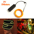 New 5Meters EL Wire 2.3mm Flexible Rope Tube Neon Cold Light LED strip for Festival cosplay Party Decoration With DC-3V Inverter