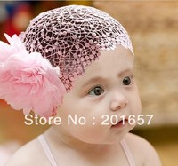 Wholesale And Retail Lace Net With Flower Elastic Hairband Headband Hair Accessory Party Accessory Children Fashion