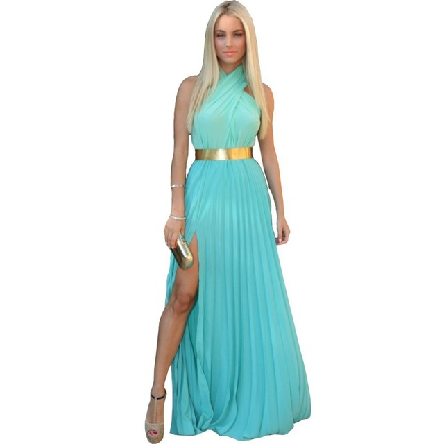 vestidos de fiesta Turquoise Chiffon With Gold Belt Long Prom ...