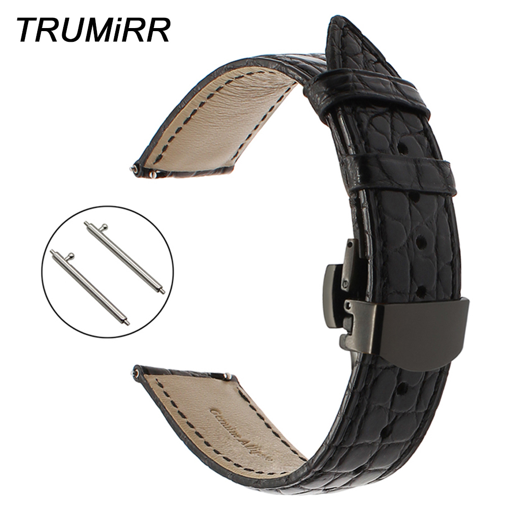 22mm Genuine Alligator Leather Watchband for Samsung Gear S3 Classic Frontier Watch Band Steel Buckle Strap Croco Belt Bracelet silicone sport watchband for gear s3 classic frontier 22mm strap for samsung galaxy watch 46mm band replacement strap bracelet