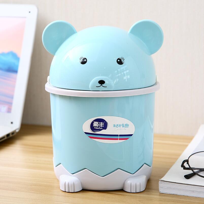 Panda Rolling Cover Bucket Turn Over Desktop Dustbin Bathroom Cartoon Receiving Barrel Household Living Room Thickened Basket in Waste Bins from Home Garden