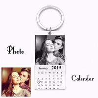 Custom Calendar Keychain Personalized Photo Key Chain Stainless Steel Pendant Keychain With Key Ring For Men