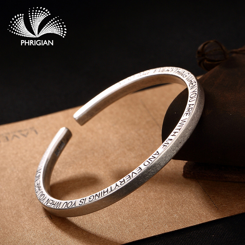 NOT FAKE S990 Fine Jewelry  925  Sterling Silver Bangle S925 Vintage Ethnic Jewelry Handmade Natural Women Luxury retro 925NOT FAKE S990 Fine Jewelry  925  Sterling Silver Bangle S925 Vintage Ethnic Jewelry Handmade Natural Women Luxury retro 925