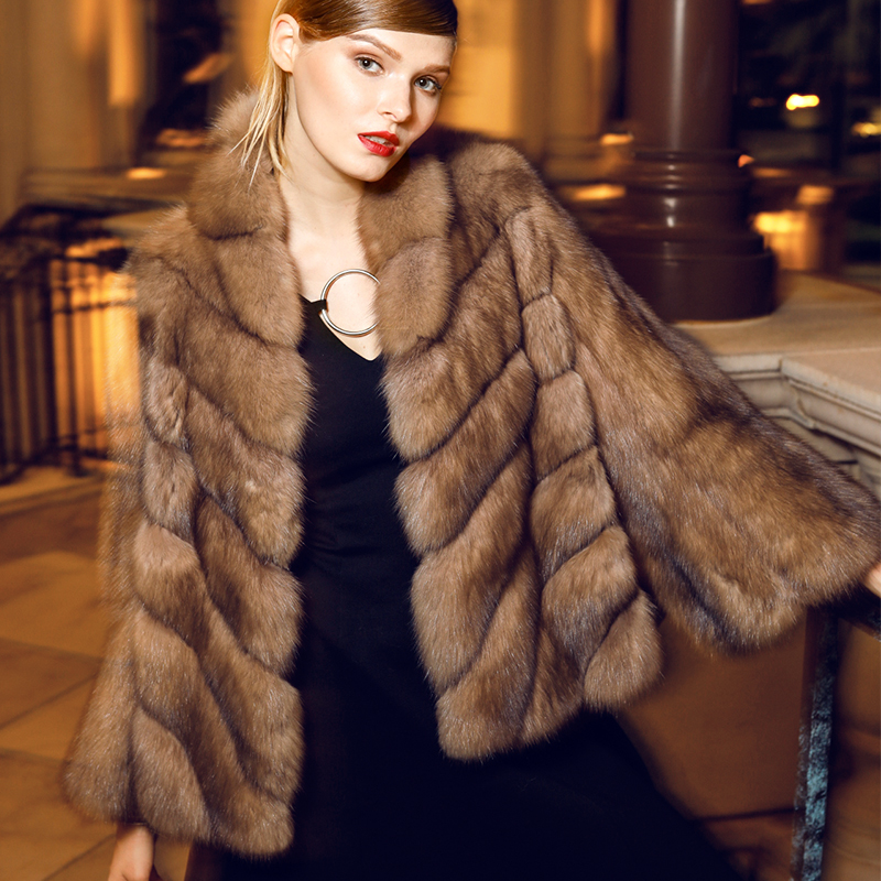 Genuine mink fur coat women luxury fur jacket Russia sable mink ...