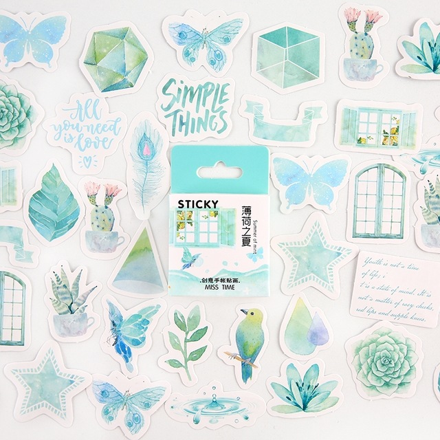 Mint Summer Bullet Journal Decorative Stationery Mini Stickers Set Scrapbooking DIY Diary Album Stick Lable Kawaii Stationery