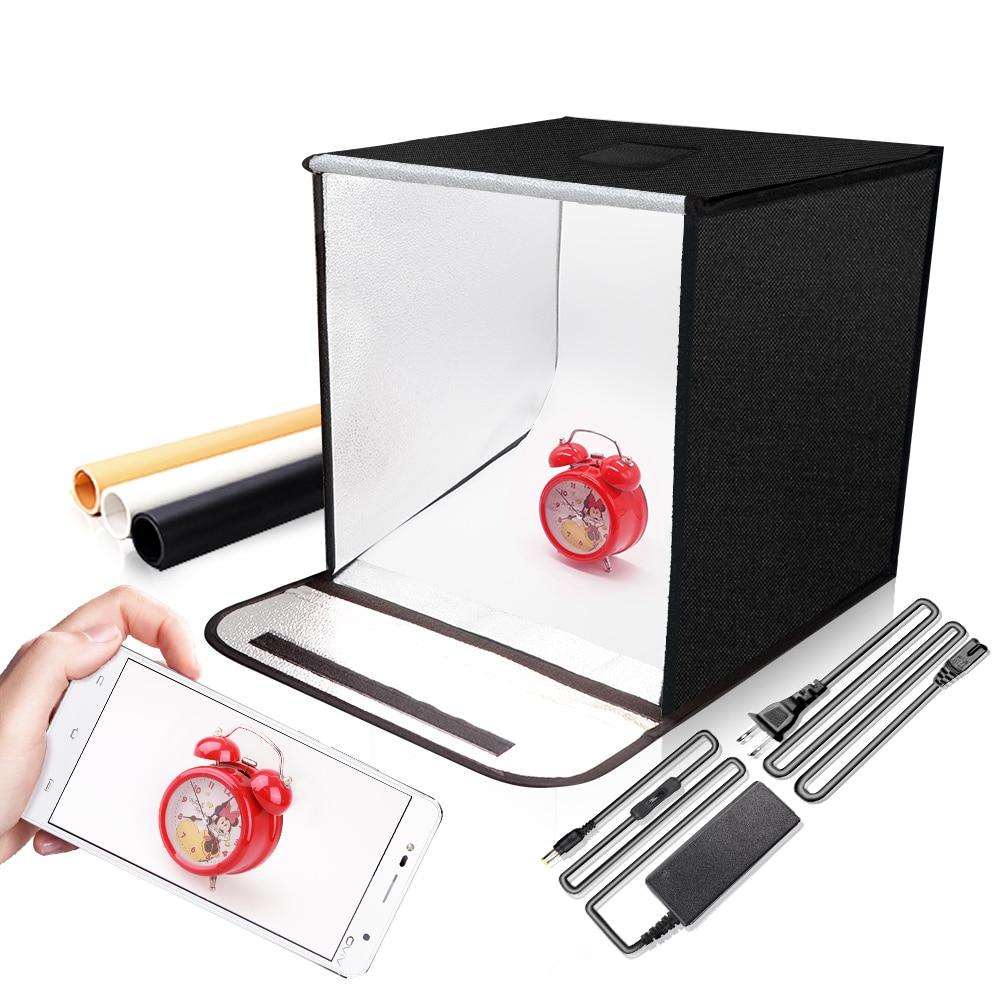 Travor F40 LED Pliant Photo Studio Softbox Lightbox 40*40 lumière Tente avec blanc jaune noir fond Accessoires boîte lumière - 2
